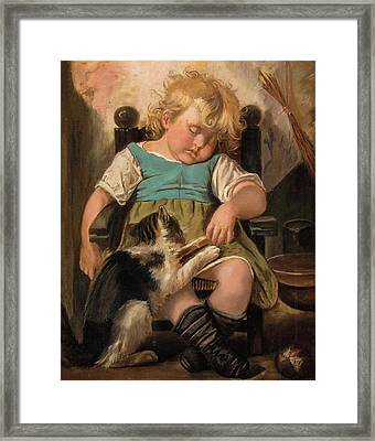 Sleeping Girl On Chair With Cat Framed Print