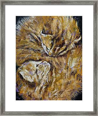 Sleeping Kittens Framed Print by Michael Creese