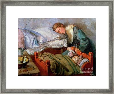 Sleeping Mother, 1883 Framed Print by Christian Krohg