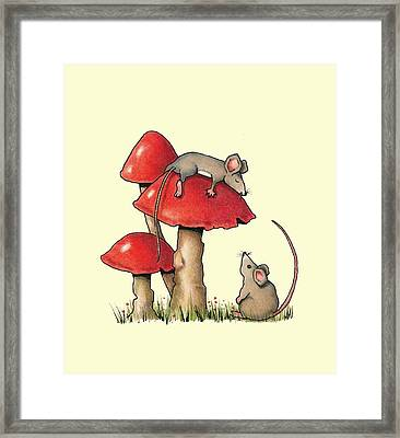 Sleeping Mouse With Toadstools Framed Print