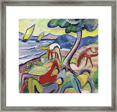 Sleeping Riders Framed Print by August Macke