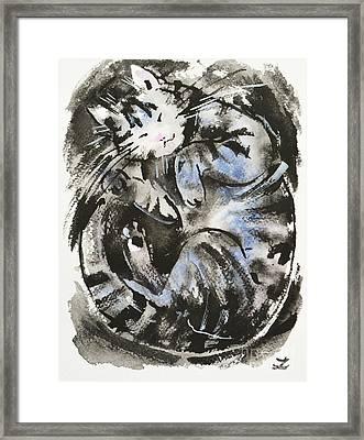 Framed Print featuring the painting Sleeping Tabby Cat by Zaira Dzhaubaeva