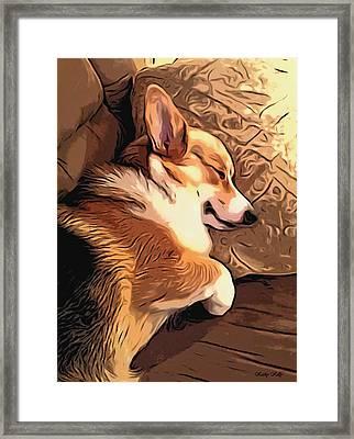 Framed Print featuring the digital art Banjo The Sleeping Welsh Corgi by Kathy Kelly