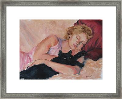Sleeping With Fur Framed Print by Connie Schaertl