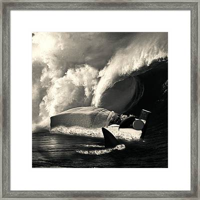 Sleeping With Sharks Black And White Framed Print