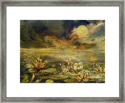 Sleepless Water Lily Framed Print by Anne Weirich