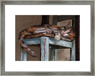 Framed Print featuring the painting Sleepting Cat by Thomas Lupari