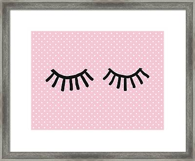 Sleepy Eyes And Polka Dots- Art By Linda Woods Framed Print