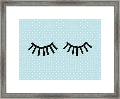 Sleepy Eyes And Polka Dots Blue- Art By Linda Woods Framed Print