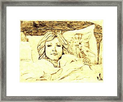 Sleepy Girl Friend On A Cat Pillow Framed Print by Sheri Buchheit