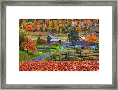 Sleepy Hollows Farm Woodstock Vermont Vt Autumn Bright Colors Framed Print