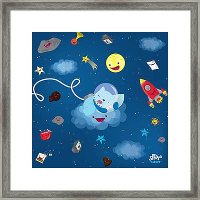 Sleepy In Space Framed Print by Seedys