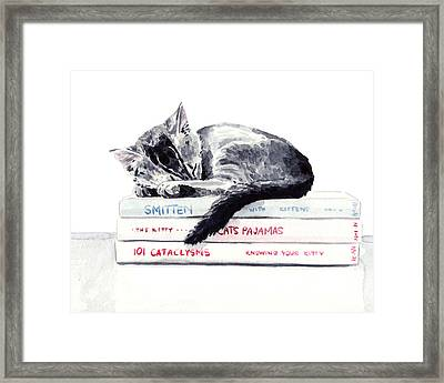Sleepy Kitten Cat On Books Library Cute Kity Gray Striped Framed Print by Laura Row