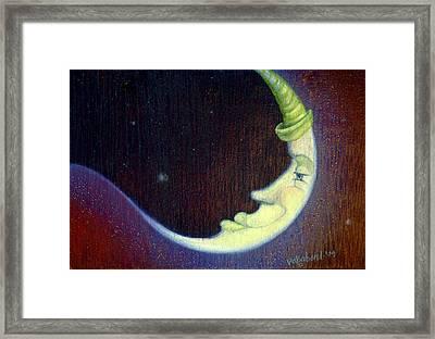 Sleepy Moon Framed Print