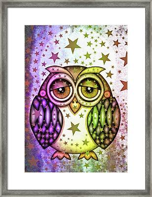 Framed Print featuring the photograph Sleepy Owl With Stars by Matthias Hauser