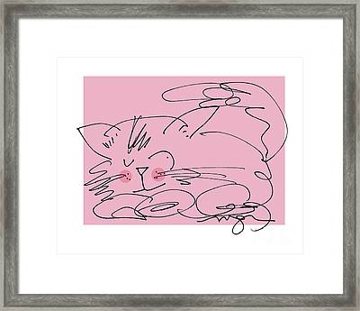 Sleepy Pink Cat Framed Print