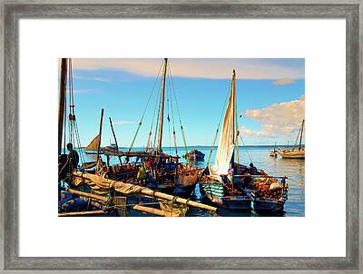 Sleepy Sail Boats Zanzibar Framed Print