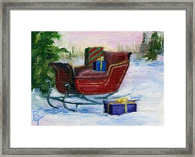 Sleigh Aceo Framed Print by Brenda Thour