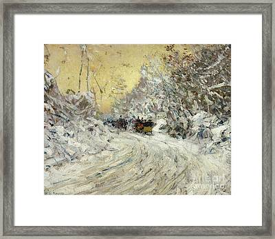 Sleigh Ride In Central Park Framed Print by Childe Hassam