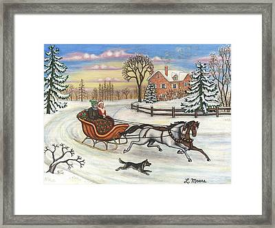 Sleigh Ride In The Country Framed Print by Linda Mears