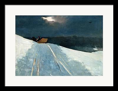 Snow On Road Framed Prints