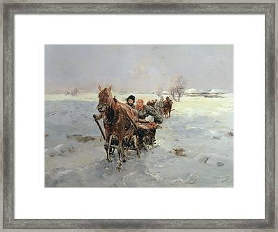 Sleighs In A Winter Landscape Framed Print by Janina Konarsky