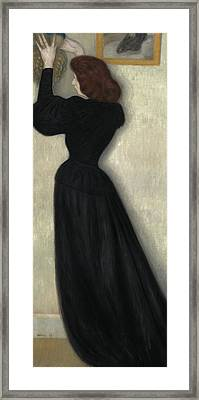 Slender Woman With Vase Framed Print by Jozsef Rippl Ronai