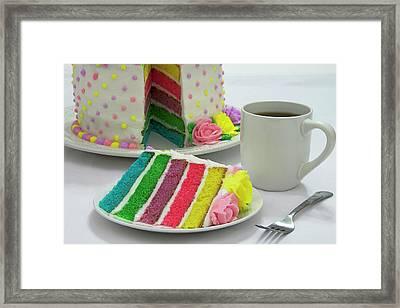 Slice Of Rainbow Cake Framed Print