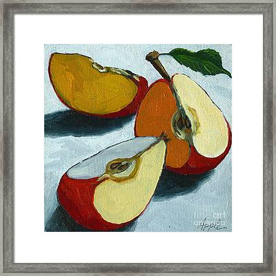 Sliced Apple Still Life Oil Painting Framed Print