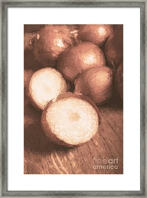 Sliced Brown Onion Digital Oil Painting Framed Print