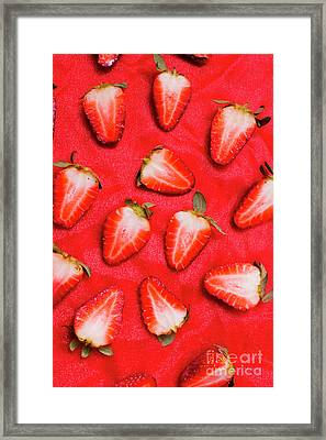 Sliced Red Strawberry Background Framed Print