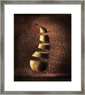 Sliced Up Pear Framed Print