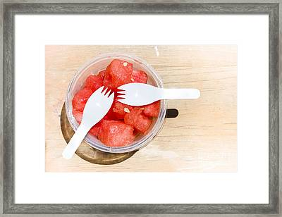 Sliced Watermelon Pieces On Wooden Table Outside Framed Print