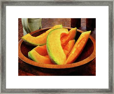Slices Of Cantaloupe Framed Print by Susan Savad