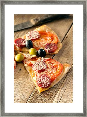 Slices Of Homemade Pizza With Salami Framed Print by Vadim Goodwill