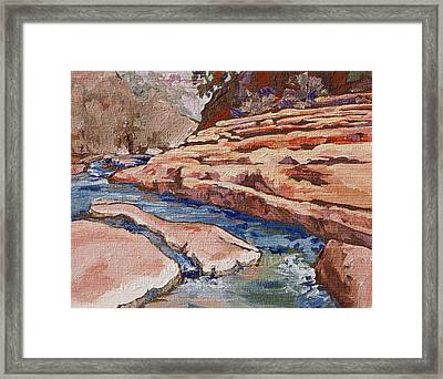 Slide Rock Framed Print by Sandy Tracey