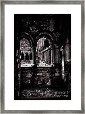 Framed Print featuring the photograph Sligo Abbey Interior Bw by RicardMN Photography