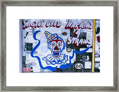 Sligtly Used Napkins And Straws Framed Print by Garry Gay
