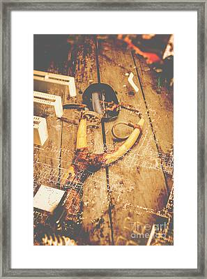 Slingshot With Mouse. Cyber Attack Framed Print