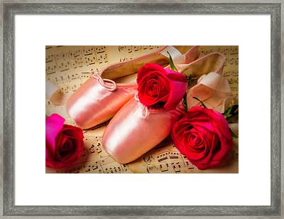 Slippers With Red Rose Framed Print