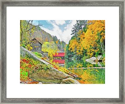 Framed Print featuring the digital art Slippery Rock Creek At Mcconnells Mill by Digital Photographic Arts