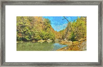 Framed Print featuring the digital art Slippery Rock Creek by Digital Photographic Arts