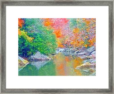Framed Print featuring the digital art Slippery Rock Creek In Autumn by Digital Photographic Arts