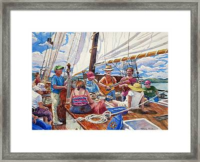 Sloop Clearwater With Musicians Framed Print by Mira Fink