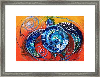 Slopical Tropical Sea Turtle Framed Print
