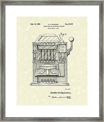 Slot Machine 1932 Patent Art Framed Print