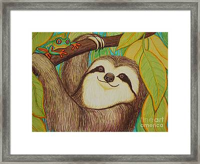 Sloth And Frog Framed Print