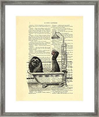 Sloth, Funny Children's Art, Bathroom Decor Framed Print by Madame Memento