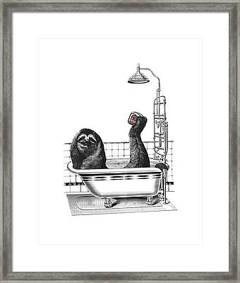 Sloth In Bathtub Taking A Shower Framed Print by Madame Memento
