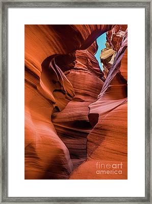 Slots And Sky - The Amazing Antelope Slot Canyons In Arizona, Usa Framed Print